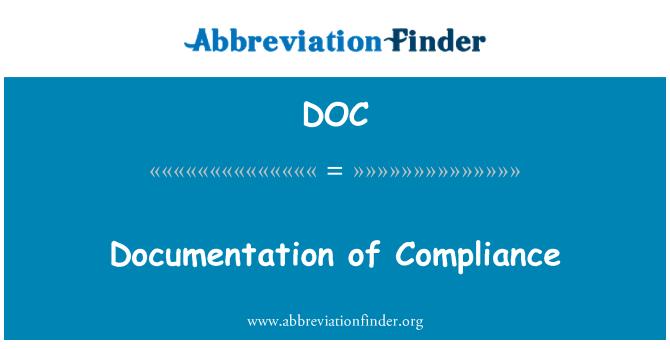 DOC: Documentation of Compliance