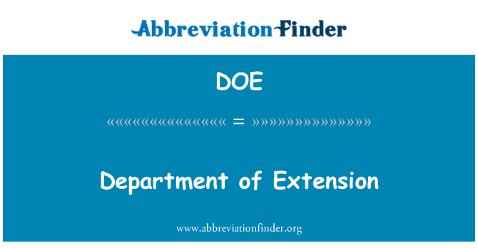 DOE: Department of Extension