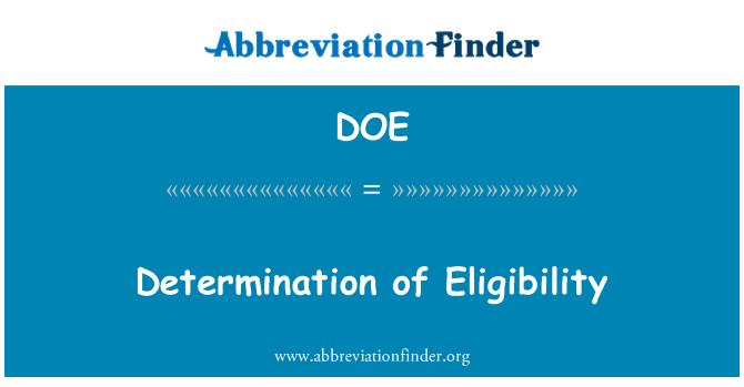 DOE: Determination of Eligibility