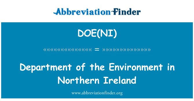 DOE(NI): Department of the Environment in Northern Ireland