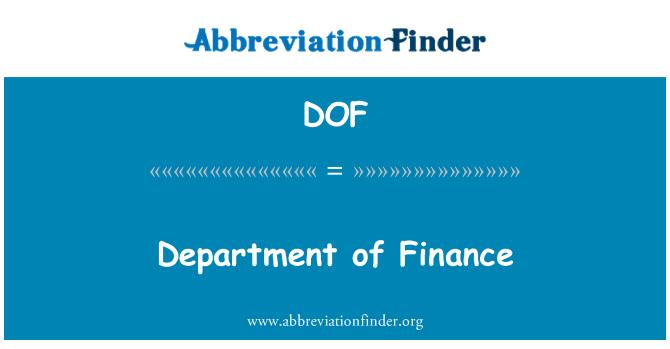 DOF: Department of Finance