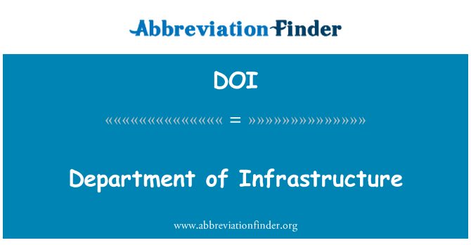 DOI: Department of Infrastructure