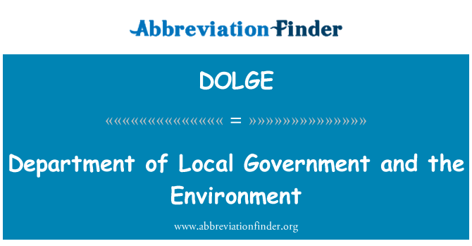 DOLGE: Department of Local Government and the Environment