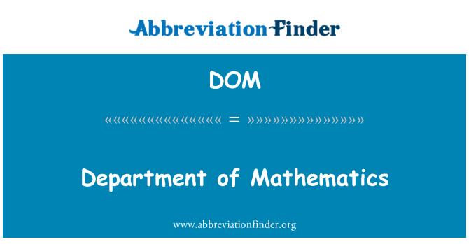 DOM: Department of Mathematics