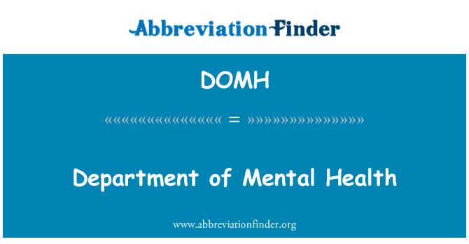 DOMH: Department of Mental Health