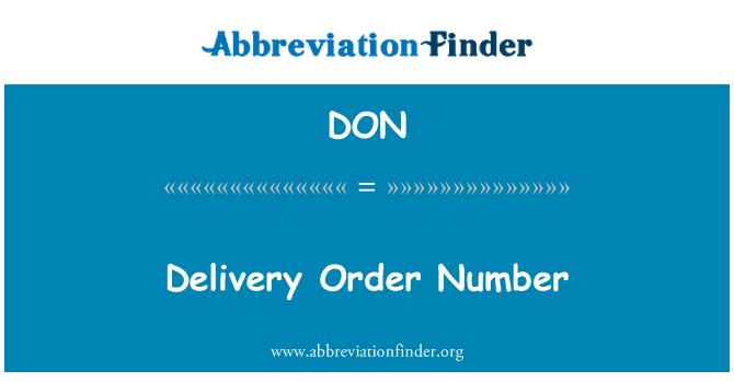 DON: Delivery Order Number