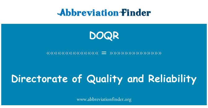 DOQR: Ředitelství pro kvalitu a spolehlivost