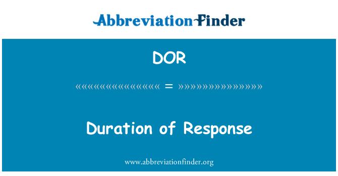 DOR: Duration of Response