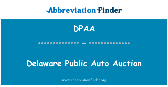 DPAA: Delaware Public Auto Auction