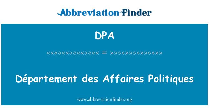 DPA: Département des Affaires Politiques