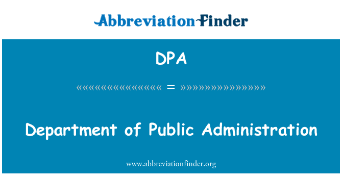 DPA: Department of Public Administration