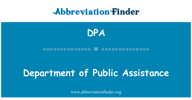 DPA: Department of Public Assistance