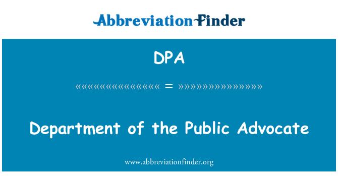 DPA: Department of the Public Advocate
