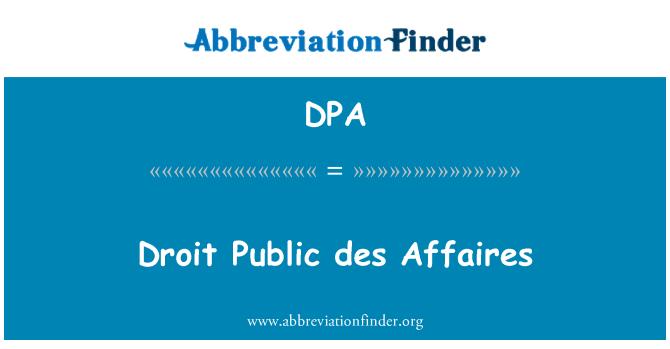 DPA: Droit Public des Affaires