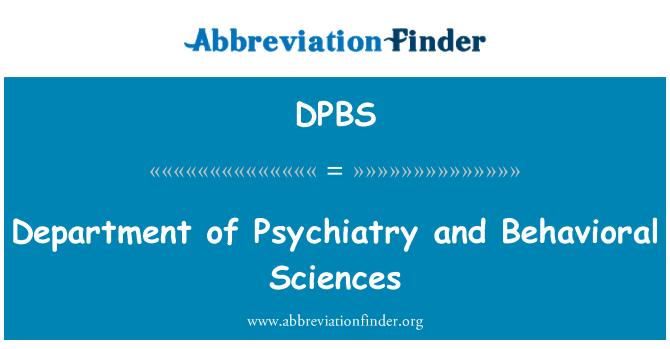 DPBS: Departamento de psiquiatría y Ciencias del comportamiento