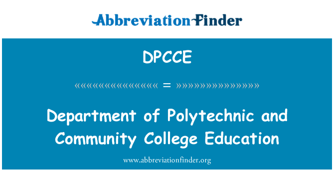 DPCCE: Department of Polytechnic and Community College Education