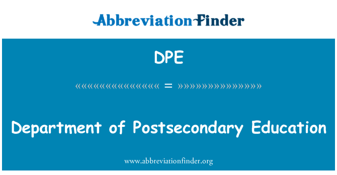 DPE: Department of Postsecondary Education