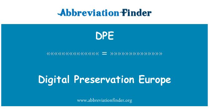 DPE: Digital Preservation Europe