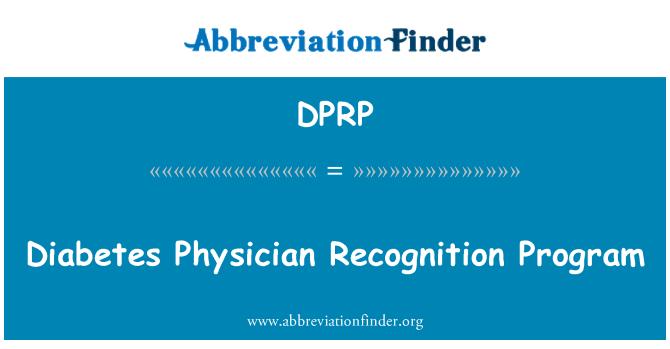 DPRP: Diabetes Physician Recognition Program