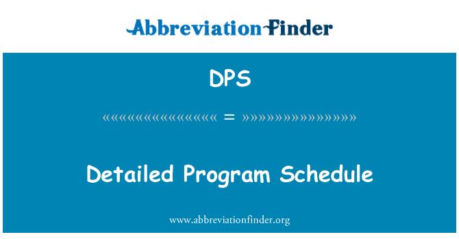 DPS: Detailed Program Schedule