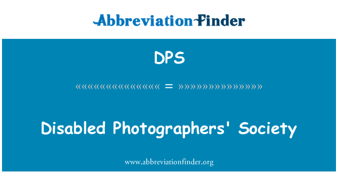 DPS: Disabled Photographers' Society