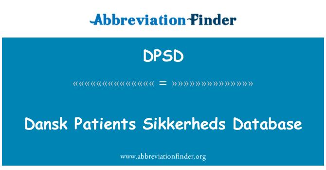 DPSD: Dansk pacientes Sikkerheds base de datos