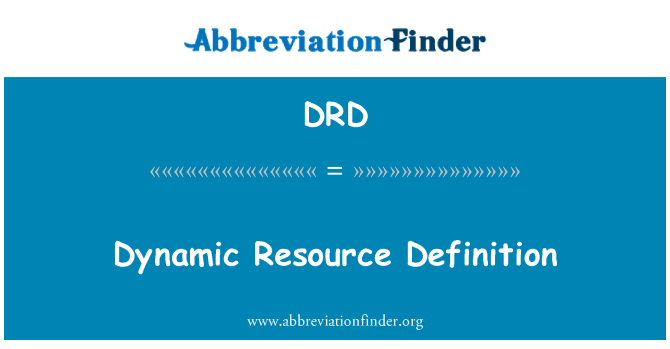 DRD: Dynamic Resource Definition