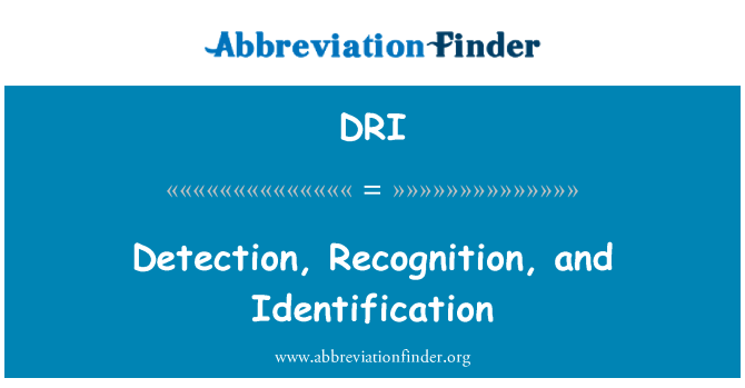 DRI: Detection, Recognition, and Identification