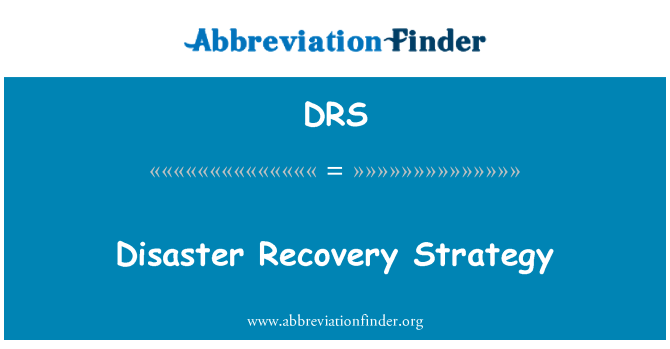 DRS: Disaster Recovery Strategy