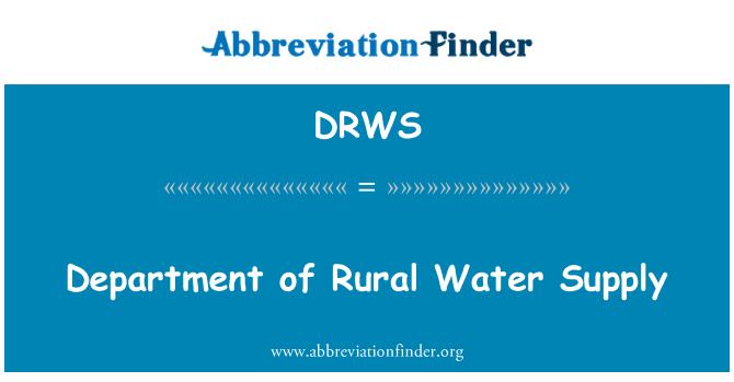 DRWS: Department of Rural Water Supply