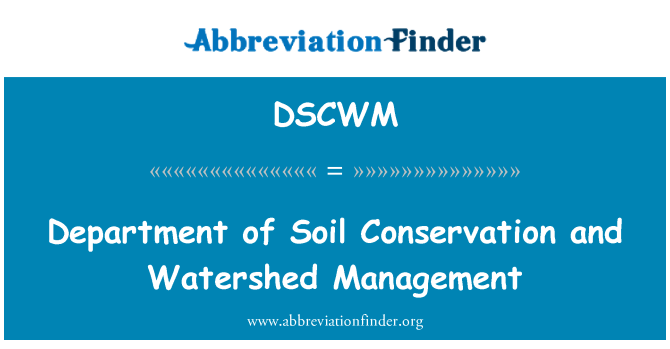 DSCWM: Department of Soil Conservation and Watershed Management