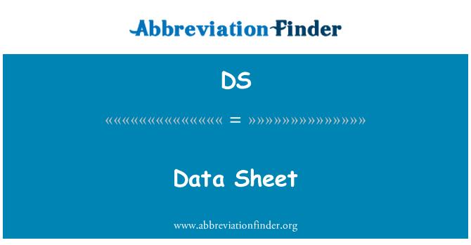 DS: Data Sheet