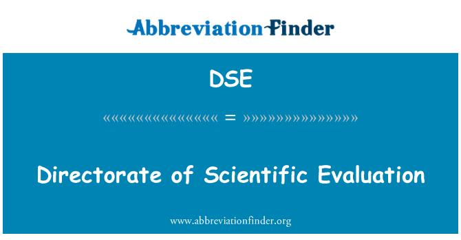 DSE: Directorate of Scientific Evaluation