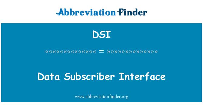 DSI: Data Subscriber Interface