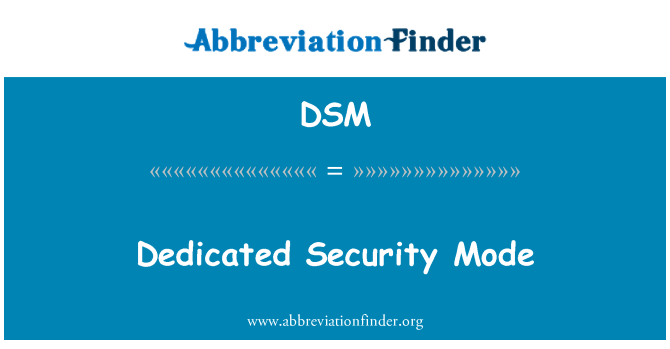 DSM: Dedicated Security Mode
