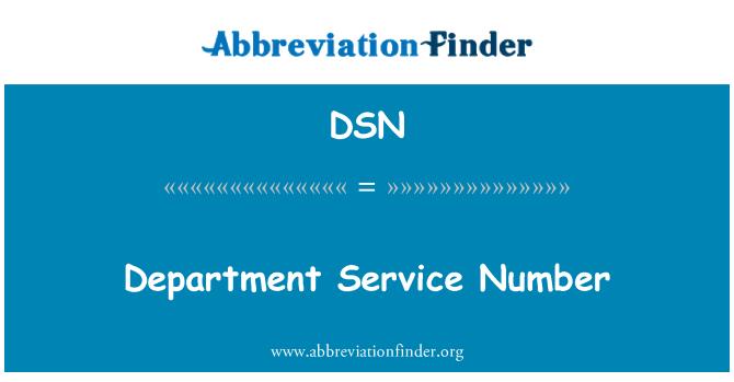DSN: Department Service Number