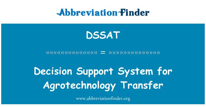 DSSAT: Decision Support System for Agrotechnology Transfer