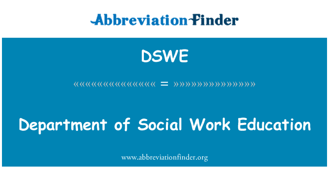 DSWE: Department of Social Work Education