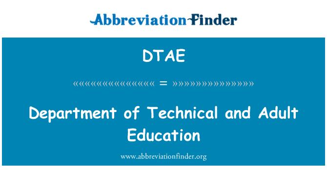 DTAE: Departamento de técnica y de educación para adultos