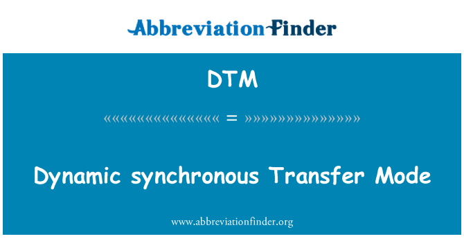 DTM: Dynamic synchronous Transfer Mode