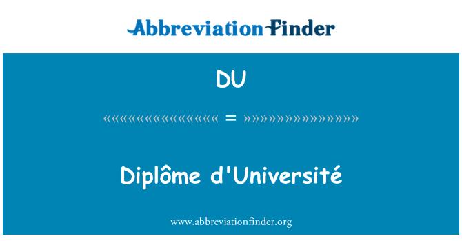 DU: Diplôme d'Université