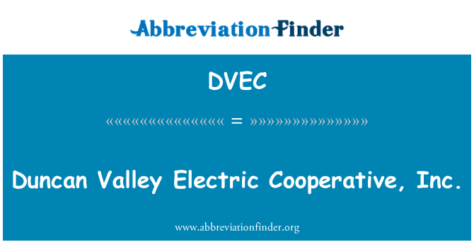 DVEC: Duncan Valley Electric Cooperative, Inc.