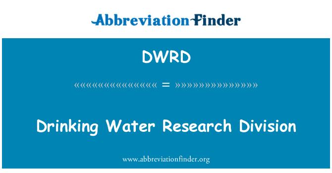 DWRD: İçme suyu araştırma bölümü