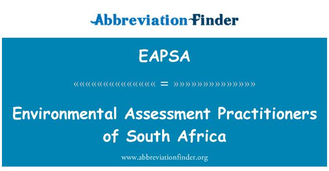 EAPSA: Posuzování životního prostředí odborníky z Jižní Afriky