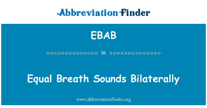 EBAB: Equal Breath Sounds Bilaterally
