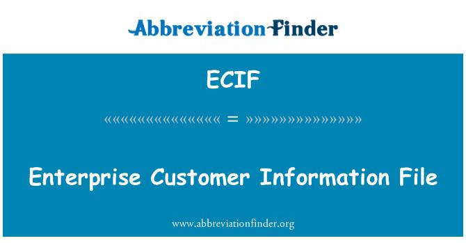 ECIF: Enterprise Customer Information File