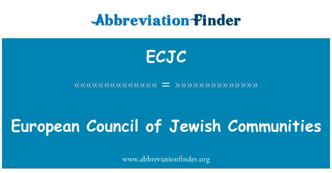 ECJC: European Council of Jewish Communities