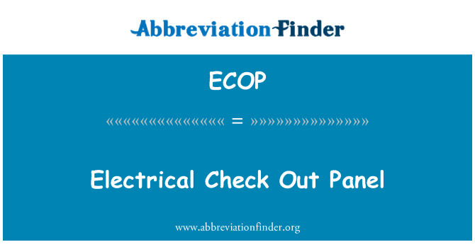 ECOP: پینل کے برقی چیک