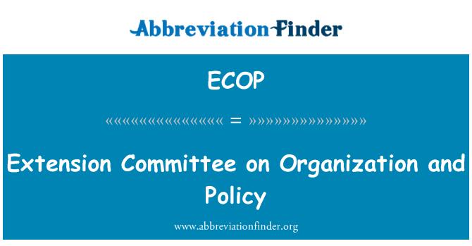 ECOP: توسیع کمیٹی کی تنظیم اور پالیسی پر