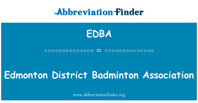 EDBA: Asociación de bádminton del distrito de Edmonton